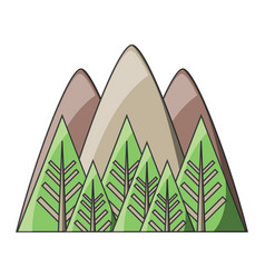 Mountains and forest icon vector