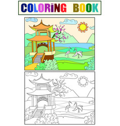 Nature of japan coloring book for children cartoon vector