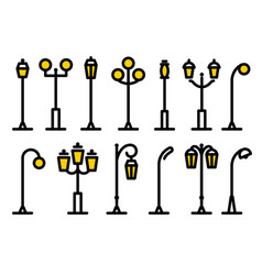 Outline streetlight icons collection isolated vector