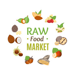 Raw food market round design template witch nuts vector