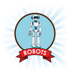 Robots android technology futuristic banner vector