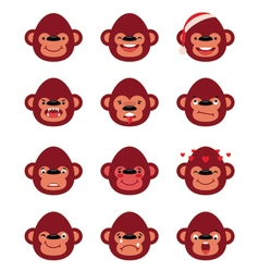 Set smiley monkey isolated on white vector image vector image
