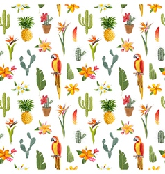 Tropical Background Parrot Bird Cactus Background vector image vector image