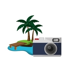 tropical island and camera icon vector image vector image