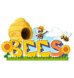 Word design for bees vector