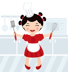 Girl cooking in kitchen vector image