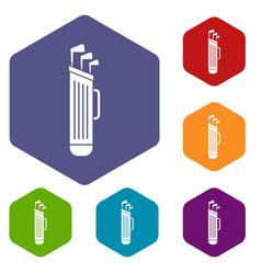 Golf clubs bag icons set hexagon vector