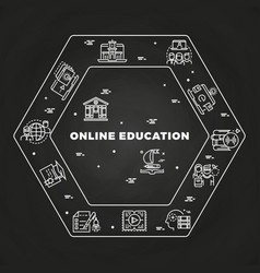 Online education line art concept on blackboard vector