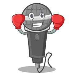 Boxing microphone cartoon character design vector