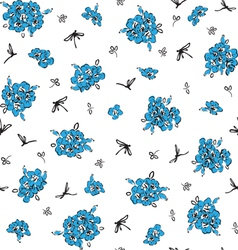 Pattern with blue flowers vector