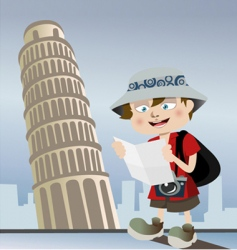 Tourist with pisa tower vector