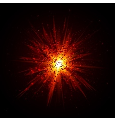 Red explosion with particles on black background vector