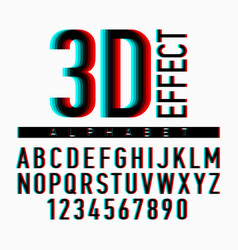 3d effect alphabet and numbers vector image