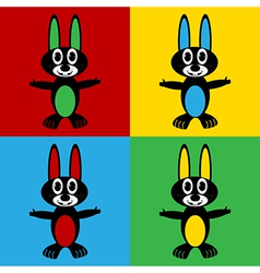 Pop art hare icons vector