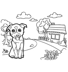 Coloring book with dog and house vector