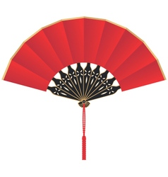 Red silk chinese fan vector