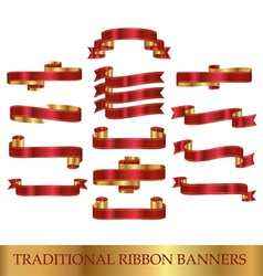 Red ribbon banners vector