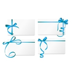 Gift card with blue ribbon and bow set vector