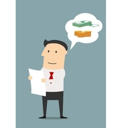 Businessman reading contract and dreaming vector