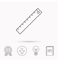Ruler icon straightedge sign vector