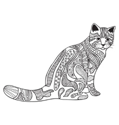 Cat black and white doodle print with ethnic vector