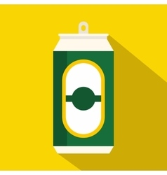 Green beer can icon flat style vector