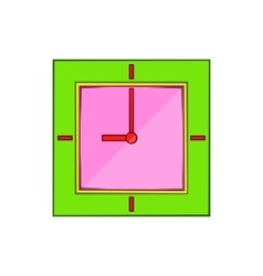 Wall clock with green rim icon cartoon style vector