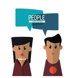 Woman and man with bubble icon people design vector