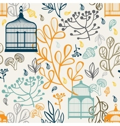 Autumn seamless pattern with vintage birdcages vector image vector image