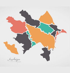 Azerbaijan map with states and modern round shapes vector
