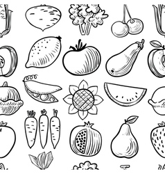 Black and white fruits and vegetables seamless pat vector