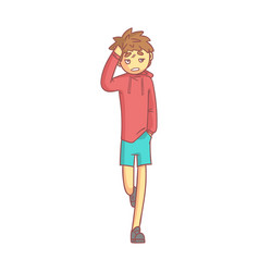 Boy in a red hoodie and blue shorts touching his vector