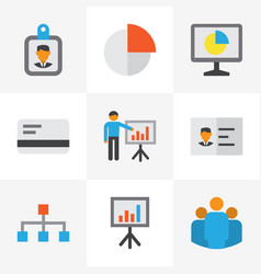 business flat icons set collection of statistics vector image vector image