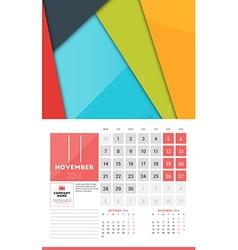 Calendar for 2016 year november design clean vector