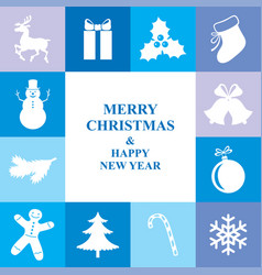 christmas congratulatory card with symbol border vector image vector image