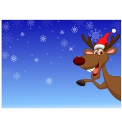 Christmas deer waving vector image