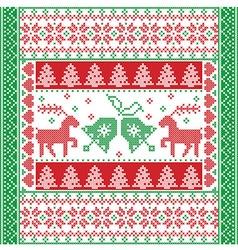 Christmas tile style withe reindeer and bells in vector