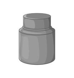 Cream plastic jar icon black monochrome style vector