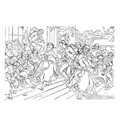 Dancing sequences of human vintage engraving vector