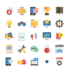 flat icons set of seo and marketing vector image vector image