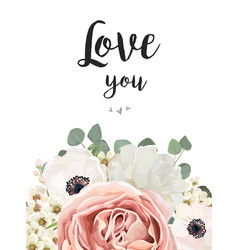 Floral greeting design card with flower bouquet vector