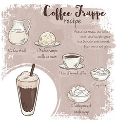 Hand drawn of coffee frappe recipe with list of vector