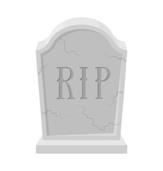 Headstone icon in monochrome style isolated on vector