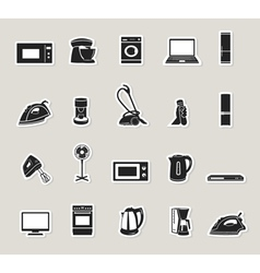 Home appliances and electronics icons set vector image