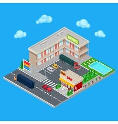 Isometric Motel with Parking Zone and Bar vector image vector image