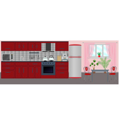 Kitchen interior in the flat style with furniture vector