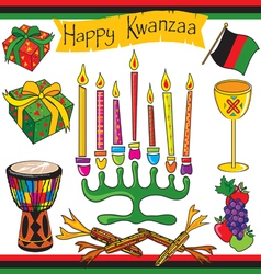 kwanzaa clipart elements and icons vector image