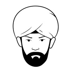 Man s head with turban vector