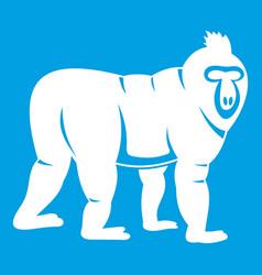 Mandrill monkey icon white vector
