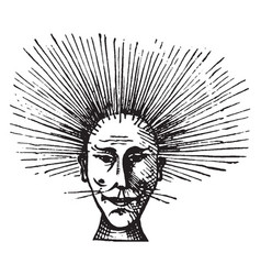 Mans face with electrified hair vintage engraving vector
